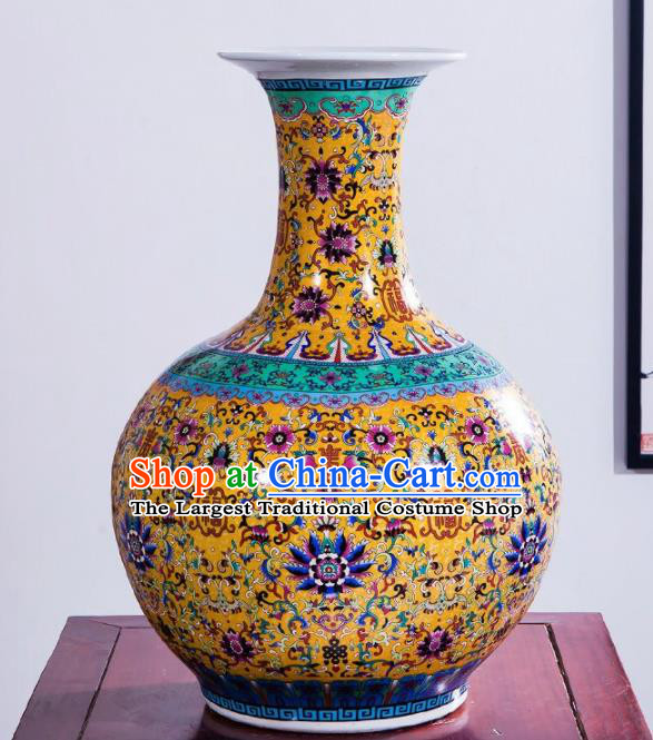 Chinese Jingdezhen Ceramic Craft Enamel Vase Handicraft Traditional Porcelain Vase