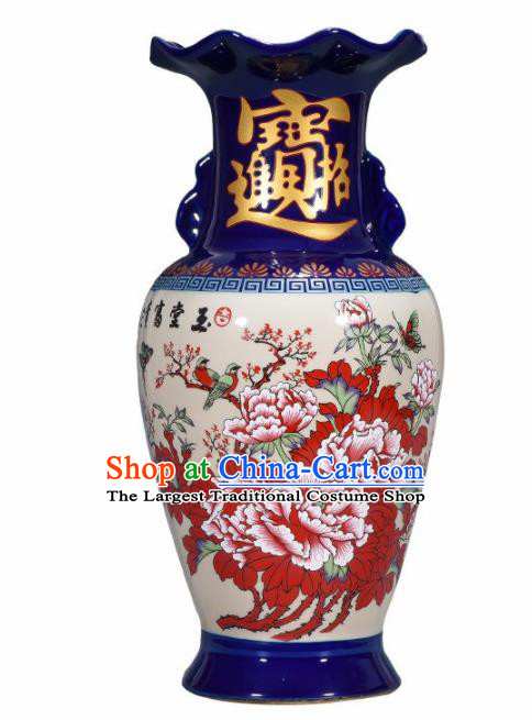 Chinese Jingdezhen Ceramic Craft Printing Peony Enamel Vase Handicraft Traditional Porcelain Vase
