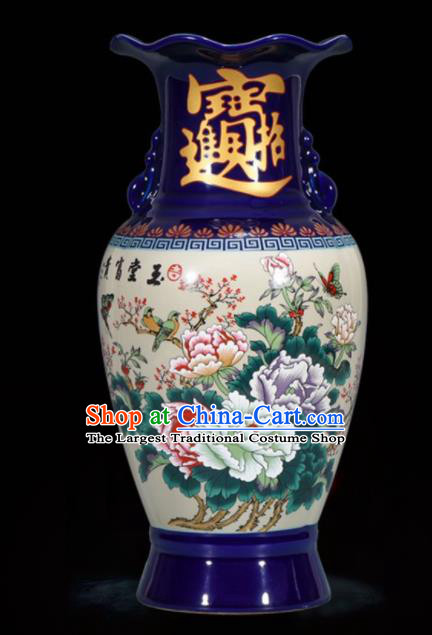 Chinese Jingdezhen Ceramic Craft Hand Painting Peony Enamel Vase Handicraft Traditional Porcelain Vase
