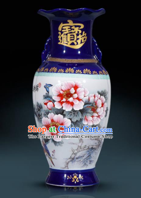 Chinese Jingdezhen Ceramic Craft Hand Painting Red Peony Enamel Vase Handicraft Traditional Porcelain Vase