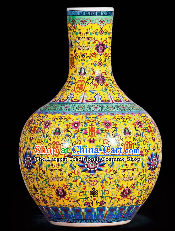 Chinese Jingdezhen Ceramic Craft Colour Enamel Yellow Vase Handicraft Traditional Porcelain Vase