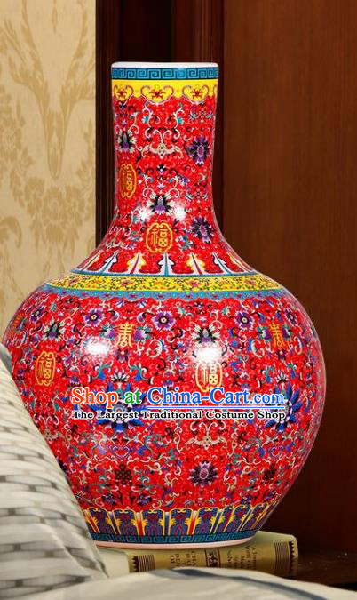 Chinese Jingdezhen Ceramic Craft Colour Enamel Red Vase Handicraft Traditional Porcelain Vase