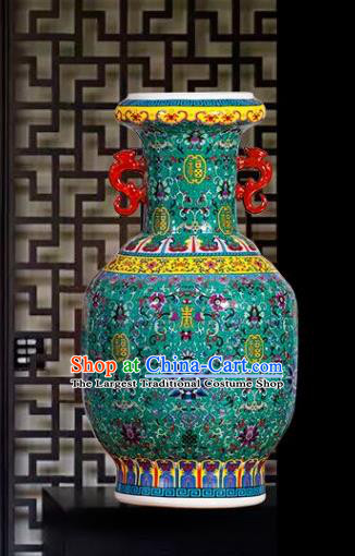 Chinese Jingdezhen Ceramic Craft Colour Enamel Green Amphora Vase Handicraft Traditional Porcelain Vase