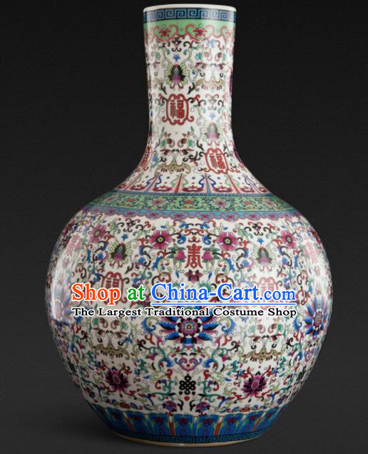 Chinese Jingdezhen Ceramic Craft Colour Enamel White Ball Vase Handicraft Traditional Porcelain Vase