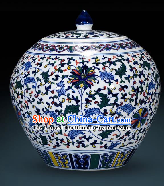 Chinese Jingdezhen Ceramic Craft Twine Lotus Pattern Enamel Jar Handicraft Traditional Porcelain Vase