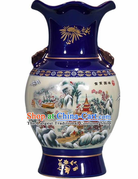 Chinese Jingdezhen Ceramic Craft Cloisonne Enamel Vase Handicraft Traditional Porcelain Vase
