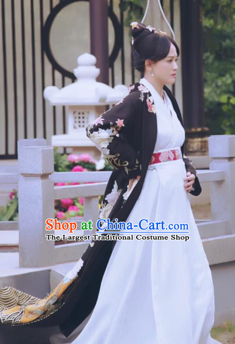Chinese Drama Queen Dugu Hanfu Dress Traditional Ancient Sui Dynasty Empress Embroidered Historical Costume and Headpiece for Women