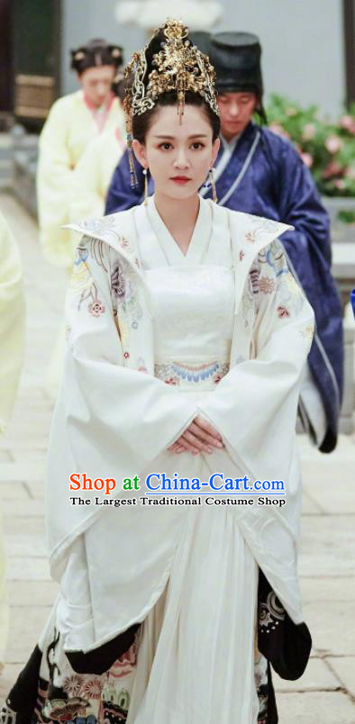 Chinese Traditional Ancient Drama Queen Dugu Hanfu Dress Sui Dynasty Empress Embroidered Historical Costume and Headpiece for Women