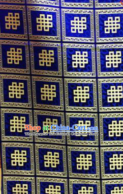 Chinese Traditional Buddhism Auspicious Pattern Royalblue Brocade Silk Fabric Tibetan Robe Satin Fabric Asian Material