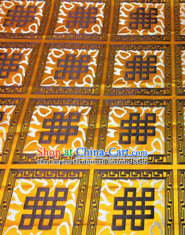 Chinese Traditional Buddhism Auspicious Pattern Golden Brocade Silk Fabric Tibetan Robe Satin Fabric Asian Material