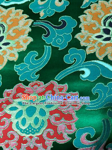 Chinese Traditional Buddhism Lotus Pattern Green Brocade Silk Fabric Tibetan Robe Satin Fabric Asian Material