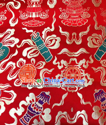 Chinese Traditional Buddhism Calabash Pattern Red Brocade Silk Fabric Tibetan Robe Satin Fabric Asian Material
