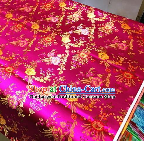Chinese Traditional Spring Flowers Pattern Rosy Brocade Silk Fabric Tibetan Robe Satin Fabric Asian Buddhism Material