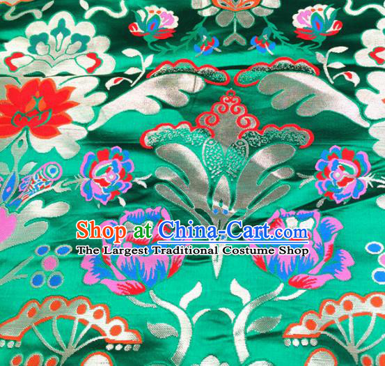 Chinese Traditional Pattern Green Brocade Silk Fabric Tibetan Robe Satin Fabric Asian Buddhism Material