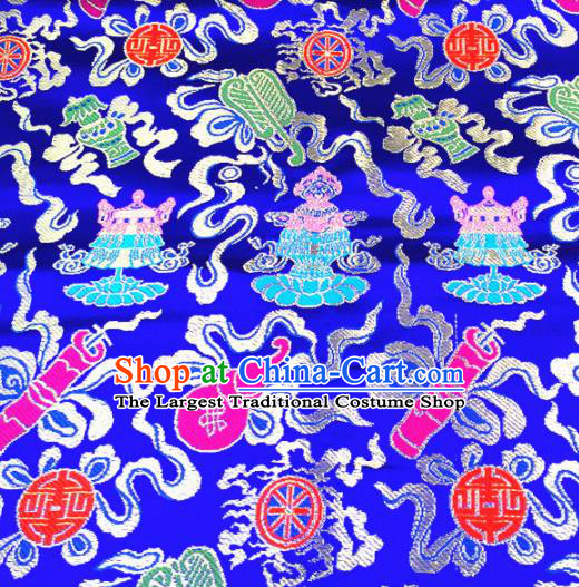 Chinese Traditional Lucky Pattern Blue Brocade Silk Fabric Tibetan Robe Satin Fabric Asian Buddhism Material
