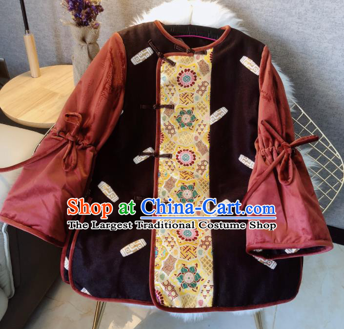 Chinese Traditional National Costume Tang Suit Cotton Padded Jacket Embroidered Upper Outer Garment for Women