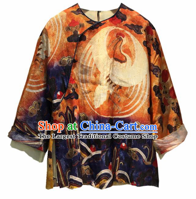 Chinese Traditional National Costume Printing Crane Blouse Tang Suit Upper Outer Garment for Women