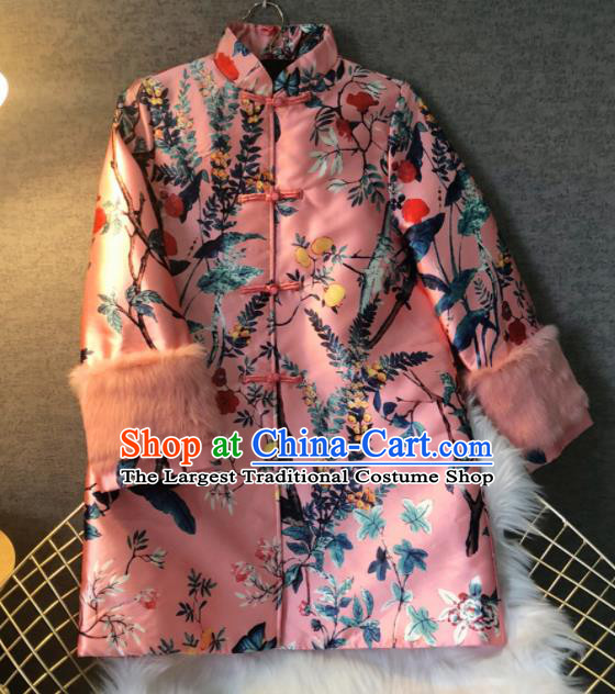 Chinese Traditional National Costume Pink Cotton Padded Coat Embroidered Tang Suit Outer Garment for Women