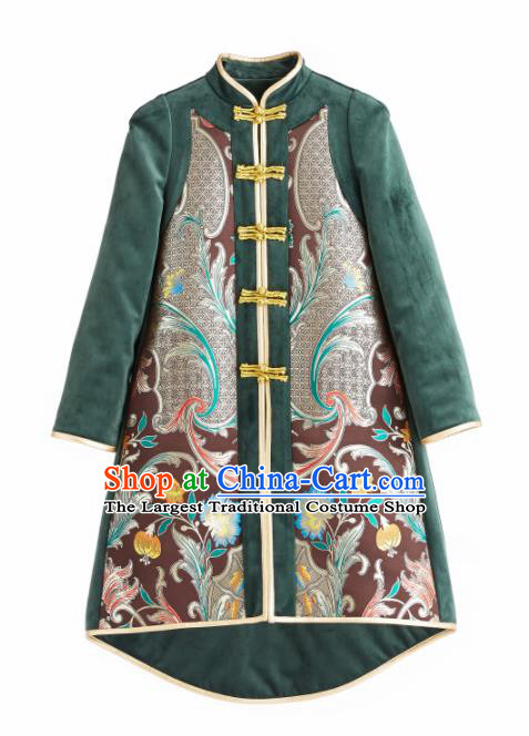 Chinese Traditional National Costume Green Cotton Padded Coat Embroidered Tang Suit Outer Garment for Women