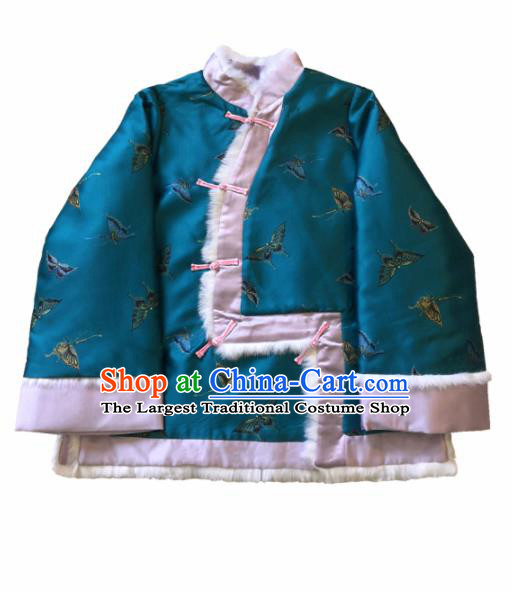 Chinese Traditional National Costume Embroidered Butterfly Green Jacket Tang Suit Outer Garment for Women