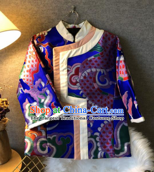 Chinese Traditional National Costume Embroidered Royalblue Jacket Tang Suit Outer Garment for Women
