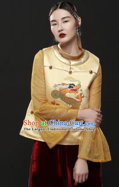 Chinese Traditional National Costume Embroidered Dragon Golden Vest Tang Suit Upper Outer Garment for Women