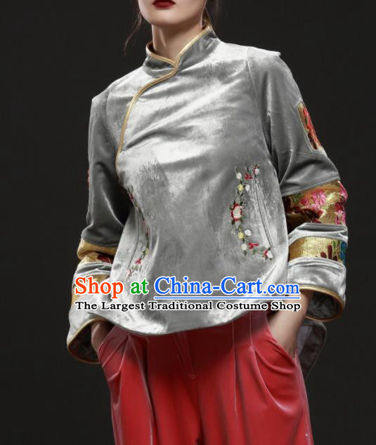 Chinese Traditional National Costume Embroidered Grey Velvet Jacket Tang Suit Upper Outer Garment for Women