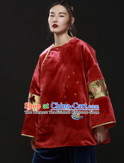 Chinese Traditional National Costume Embroidered Red Velvet Jacket Tang Suit Upper Outer Garment for Women