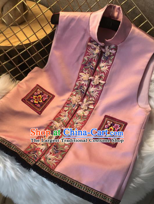 Chinese Traditional National Costume Embroidered Pink Vest Tang Suit Waistcoat Upper Outer Garment for Women