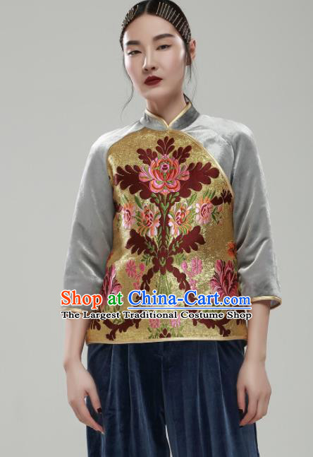 Chinese Traditional National Costume Upper Outer Garment Tang Suit Embroidered Blouse for Women