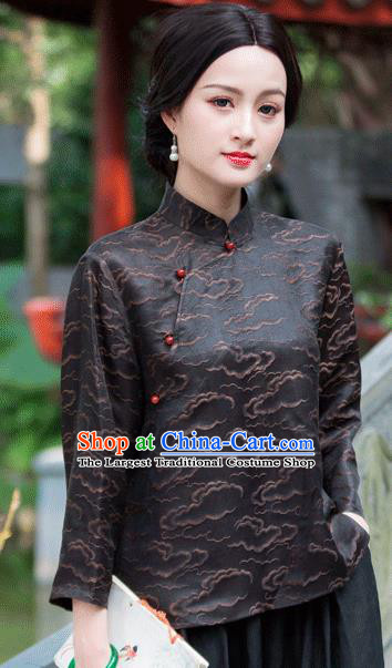 Chinese Traditional Upper Outer Garment National Costume Tang Suit Embroidered Black Blouse for Women