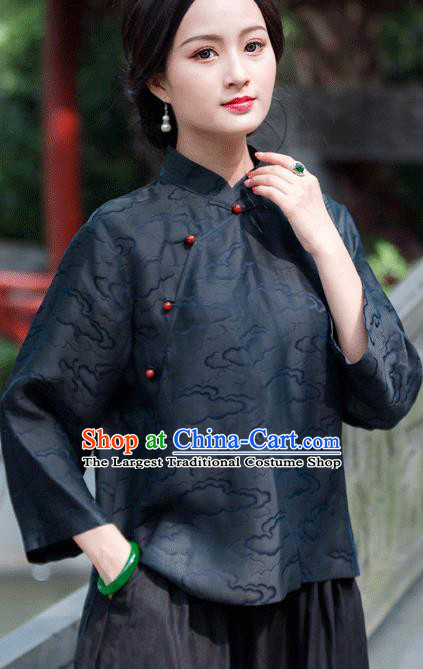 Chinese Traditional Upper Outer Garment National Costume Tang Suit Embroidered Navy Blouse for Women