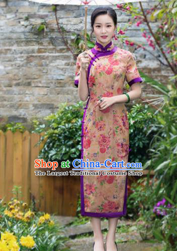 Chinese Traditional National Costume Tang Suit Printing Silk Qipao Dress Cheongsam for Women