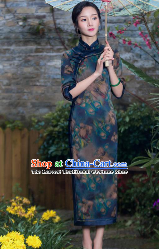Chinese Traditional National Costume Tang Suit Printing Deep Green Silk Qipao Dress Cheongsam for Women