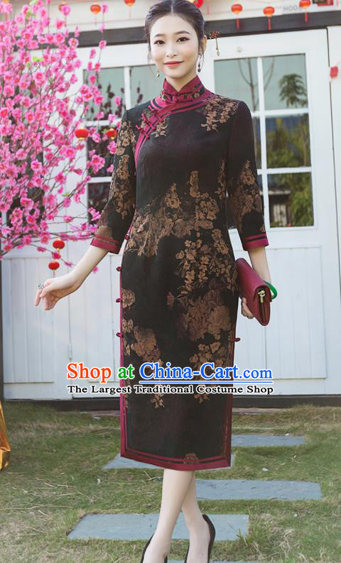 Chinese Traditional Tang Suit Printing Black Silk Qipao Dress National Costume Cheongsam for Women