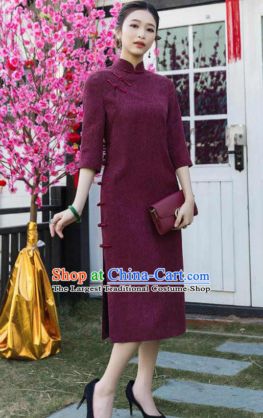 Chinese Traditional Tang Suit Wine Red Qipao Dress National Costume Cheongsam for Women