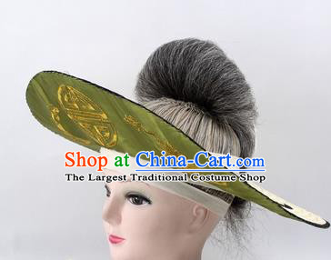 Chinese Ancient Fishermen Green Hat Traditional Peking Opera Old Male Headwear for Men