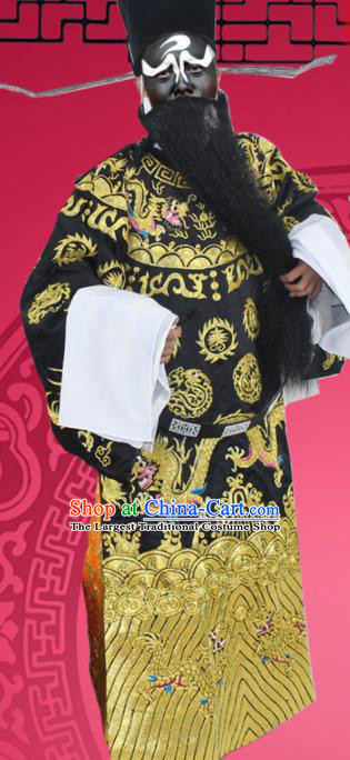 Chinese Ancient Prime Minister Black Embroidered Robe Traditional Peking Opera Old Male Costume for Men