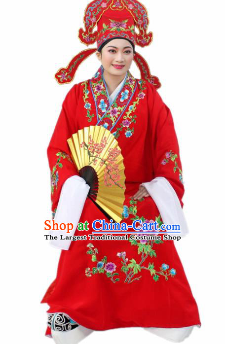 Chinese Ancient Nobility Childe Red Embroidered Robe Traditional Peking Opera Niche Costume for Men