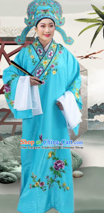 Chinese Ancient Nobility Childe Blue Embroidered Robe Traditional Peking Opera Niche Costume for Men