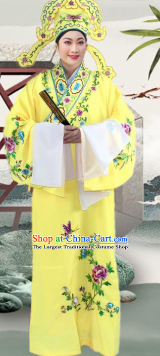 Chinese Ancient Nobility Childe Yellow Embroidered Robe Traditional Peking Opera Niche Costume for Men