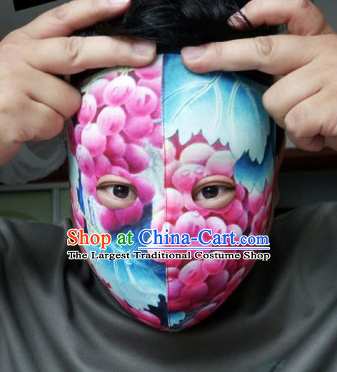 Chinese Traditional Sichuan Opera Face Changing Blue Masks Handmade Painting Facial Makeup