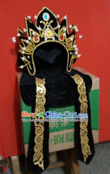 Chinese Traditional Sichuan Opera Face Changing Hat Handmade Black Helmet for Men