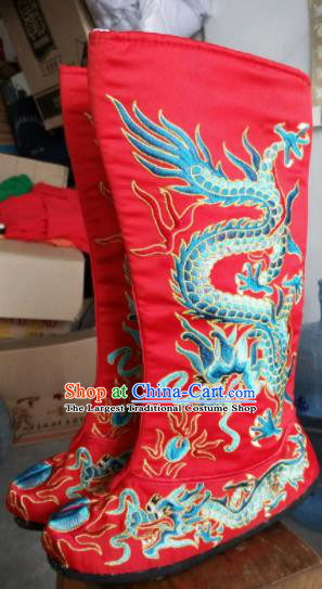 Chinese Beijing Opera Red Boots Traditional Sichuan Opera Face Changing Embroidered Dragon Boots for Men