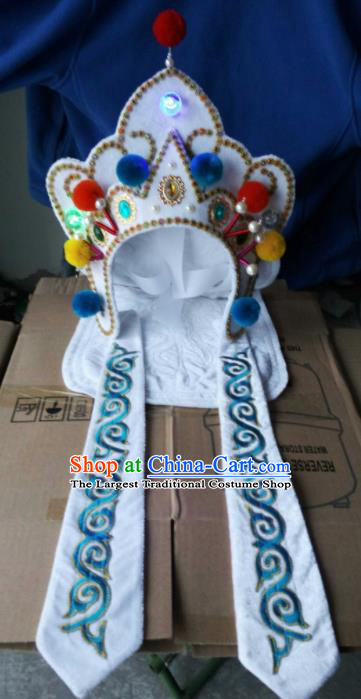 Chinese Traditional Sichuan Opera Headwear Face Changing Hat Handmade White Helmet for Men