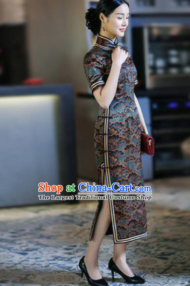 Chinese Traditional Tang Suit Printing Silk Qipao Dress National Costume Cheongsam for Women