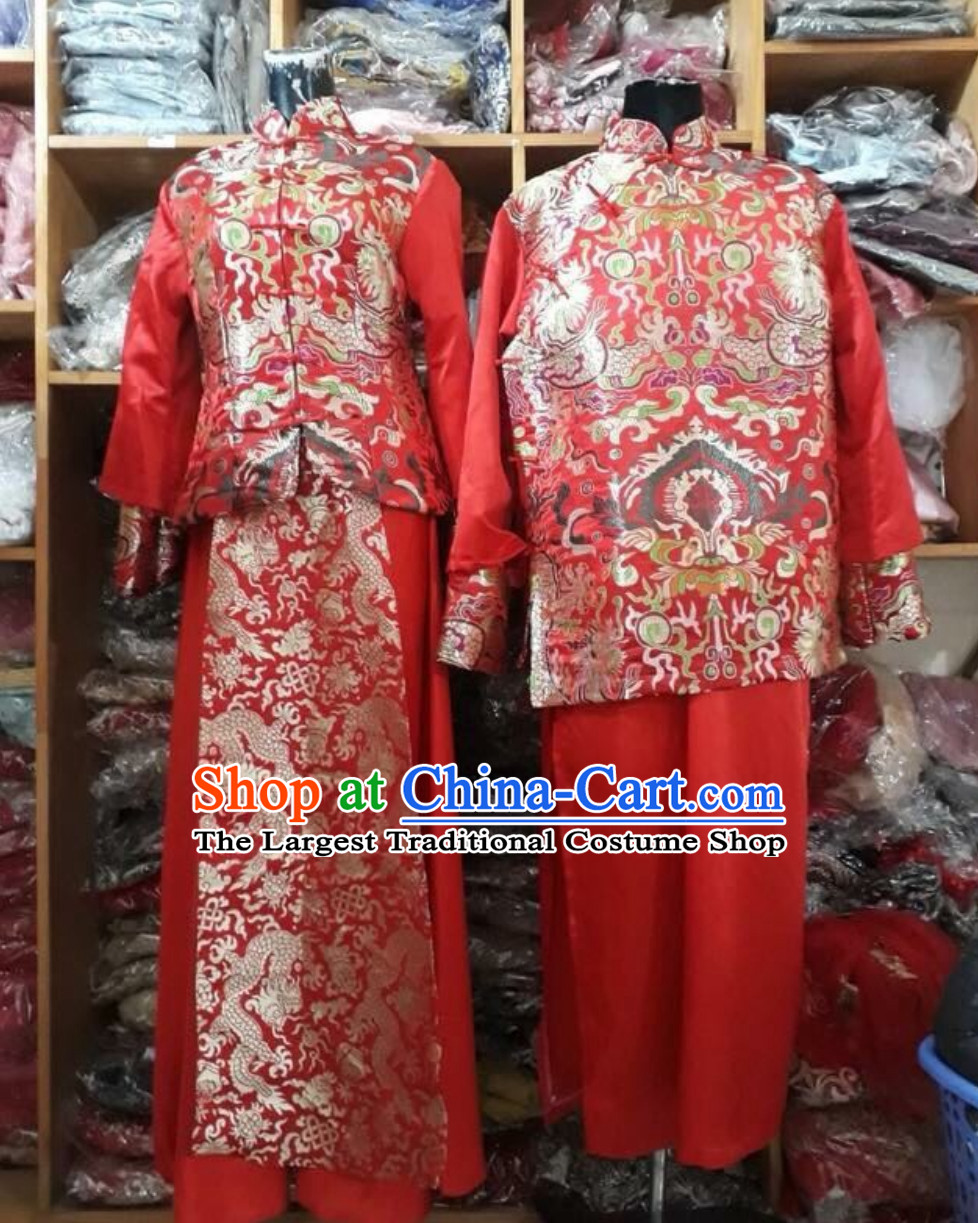 Traditional Vietnam Wedding Dresses Complete Set for Bride and Bridegroom