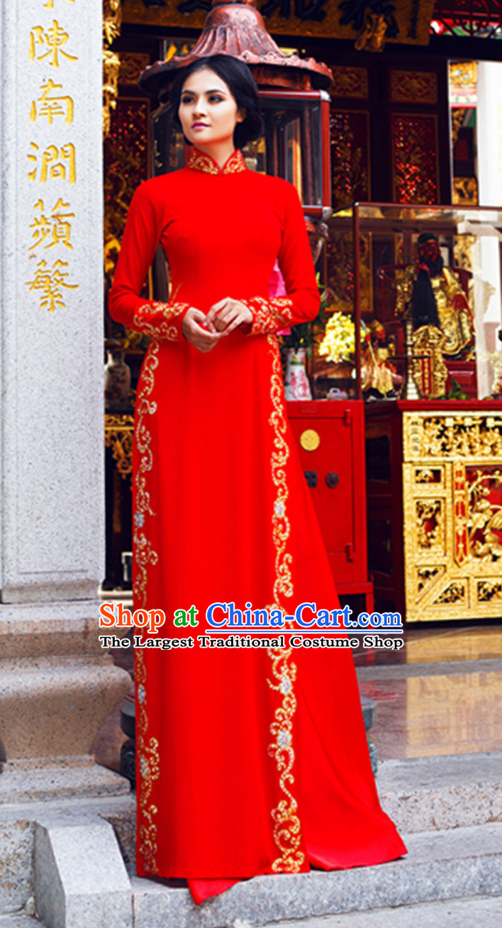 Traditional Vietnam Wedding Dresses Complete Set for Bride