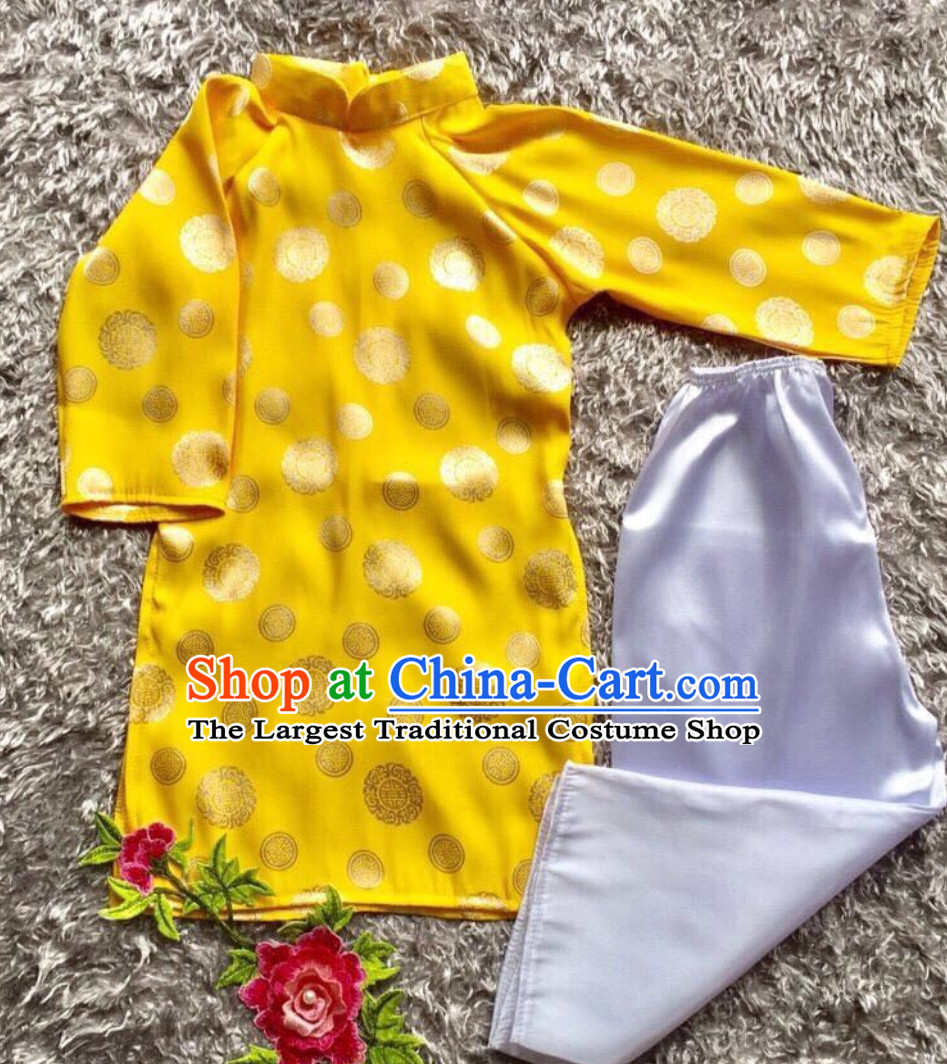 Classical Traditional Vietnam Dress Complete Set for Children Girls