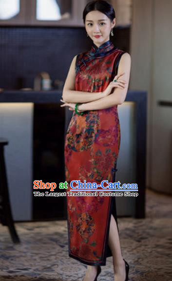 Chinese Traditional Tang Suit Purplish Red Qipao Dress National Costume Printing Cheongsam for Women